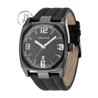 Buy Police Gents Edge Black Leather Strap Watch 12963JSB-02 online