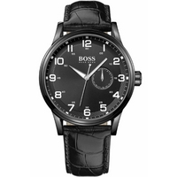 Buy Hugo Boss Gents Black Leather Strap Watch 1512833 online
