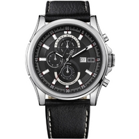 Buy Tommy Hilfiger Black Multi Dial Leather Strap Watch 1790730 online