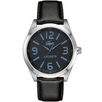 Buy Lacoste Gents Montreal Black Leather Strap Watch 2010615 online