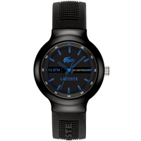 Buy Lacoste Gents Borneo Black Rubber Strap Watch 2010658 online