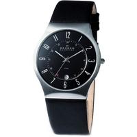 Buy Skagen Gents Black Leather Steel Watch 233XXLSLB online