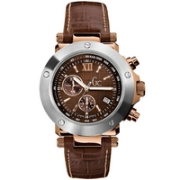 Buy Gc Gents Chronograph Brown Leather Strap Watch 45003G1 online