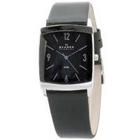 Buy Skagen Gents Black Leather Strap Watch 691LSLB online