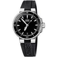 Buy Oris Ladies Aquis Date Black Rubber Strap Watch 73376524154RS online