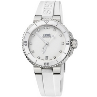 Buy Oris Ladies Aquis Date White Stone Set Dial Rubber Strap Watch 73376524191RS online
