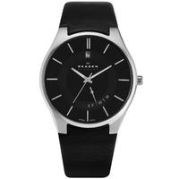 Buy Skagen Gents Black Leather Strap Watch 989XLSLB online