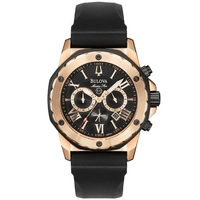 Buy Bulova Gents Marine Star Black Rubber Strap Watch 98B104 online