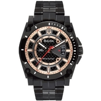 Buy Bulova Gents Precisionist Black Steel Bracelet Watch 98B143 online