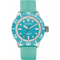 Buy Nautica Gents Aqua Blue Rubber Strap Watch A09602G online