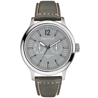 Buy Nautica Gents NCT 150 Grey Leather Strap Watch A13551G online