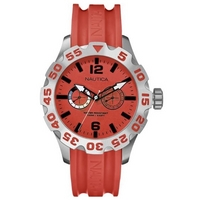 Buy Nautica Gents BFD 100 Red Rubber Strap Watch A16602G online