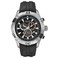 Buy Nautica Gents Black Rubber Strap Chronograph Watch A18625G online