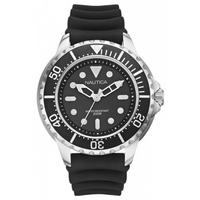 Buy Nautica Gents NMX650 Black Rubber Strap Grey Watch A18630G online