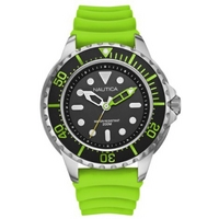 Buy Nautica Gents NMX650 Green Rubber Strap Grey Watch A18634G online