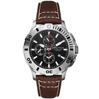 Buy Nautica Gents Chronograph Leather Strap Watch A18643G online