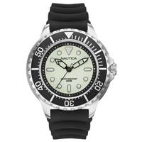 Buy Nautica Gents NMX650 Green Rubber Strap Black Watch A19583G online