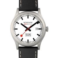 Buy Mondaine Gents Black Leather Strap Watch A6673030816SBB online