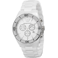 Buy Emporio Armani Gents White Ceramica Chrono Watch AR1424 online