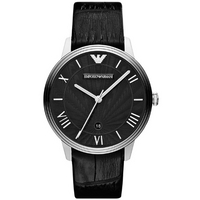 Buy Emporio Armani Gents Dino Black Leather Strap Watch AR1611 online