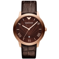 Buy Emporio Armani Gents Brown Leather Strap Watch AR1613 online