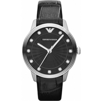 Buy Emporio Armani Ladies Stone Set Dial Leather Strap Watch AR1618 online
