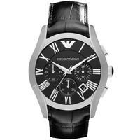 Buy Emporio Armani Gents Chronograph Black Leather Strap Watch AR1633 online