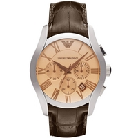 Buy Emporio Armani Gents Chronograph Brown Leather Strap Watch AR1634 online