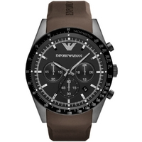 Buy Emporio Armani Gents Chronograph Brown Rubber Strap Watch AR5986 online