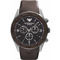 Buy Emporio Armani Gents Brown Rubber Strap Chronograph Watch AR9501 online