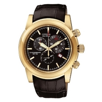 Buy Citizen Gents Sports Chronograph Black Leather Strap AT0553-13E online