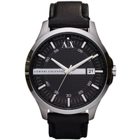 Buy Armani Exchange Gents Smart Black Leather Strap Watch AX2101 online
