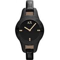 Buy Armani Exchange Ladies Smart Black Leather Strap Watch AX4125 online