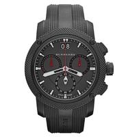 Buy Burberry Gents Endurance Black Chronograph Rubber Strap Watch BU9802 online