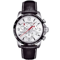 Buy Certina Gents Black Leather Strap Chronograph Watch C0016172603700 online