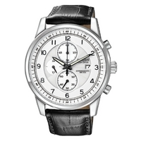 Buy Citizen Gents Sports Chronograph Black Leather Strap Watch CA0331-05A online