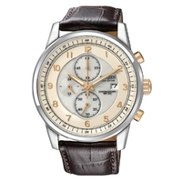 Buy Citizen Gents Sports Chronograph Brown Leather Strap Watch CA0331-13A online