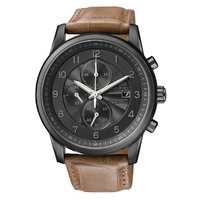 Buy Citizen Gents Sports Chronograph Brown Leather Strap Watch CA0335-04E online