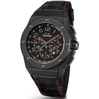 Buy T W Steel CEO Tech 44mm Black Leather Strap Watch CE4008 online