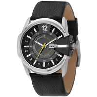 Buy Diesel Gents Master Chief Black Leather Strap Watch DZ1295 online