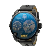 Buy Diesel Gents Super Bad Ass Black Leather Strap Chronograph Watch DZ7127 online