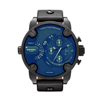 Buy Diesel Gents Baby Daddy Black Leather Strap Chronograph Watch DZ7257 online