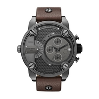 Buy Diesel Gents Baby Daddy Brown Leather Strap Chronograph Watch DZ7258 online