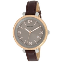 Buy Fossil Ladies Large Bridgette Brown Leather Strap Watch ES3132 online