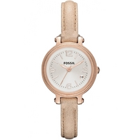 Buy Fossil Ladies Small Bridgette Cream Leather Strap Watch ES3139 online