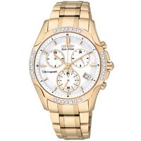 Buy Citizen Ladies Sport Chronograph Gold Tone Steel Watch FB1253-54A online