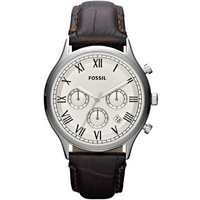 Buy Fossil Gents White Dial Brown Leather Strap Chronograph Watch FS4738 online