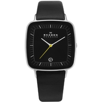 Buy Skagen Gents Black Leather Strap Watch H04LSLB online
