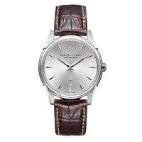 Buy Hamilton Jazzmaster Slim Brown Leather Strap Watch online