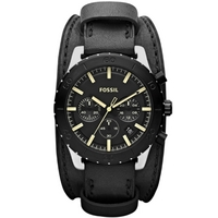 Buy Fossil Gents Keaton Black Leather Strap Watch JR1394 online